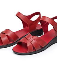 Women's Shoes Leather Low Heel Comfort Sandals Office & Career Driving Shoes Nurse Shoes Black / Red / White