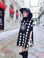 Boutique s Scheck schwarzen Pullover Frauen, casual / Tag kurze Ärmel