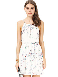 Women's Sexy / Beach Floral Loose Dress , Round Neck Mini Polyester