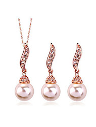 Jewelry Set Classic Elegant Bowknot Unique Design Imitation Pearl Pendant Necklace Earrings Girlfriend Gift