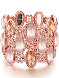 Fashion Generous Simple Glass Opal Jewel Gold-Plated Bangles(Rose Gold)(1 Pc)