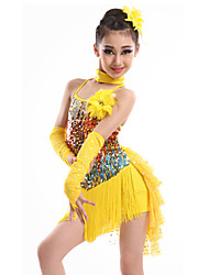 Latin Dance Dresses Children's Performance Spandex / Sequined / Milk Fiber Tassel(s) 4 Pieces Gloves / Dress / NeckwearDress length