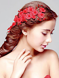 Red Imitation Pearls Party Headpieces with Headdress Flower