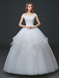 A-line Wedding Dress - White Floor-length Bateau Lace / Tulle