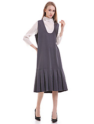Women's Casual/Daily Simple Loose Dress,Solid V Neck Knee-length Sleeveless Gray Cotton / Polyester Summer