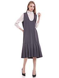 Damen Kleid - Lose Einfach Solide Knielang Baumwolle / Polyester V-Ausschnitt