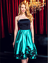A-Line Strapless Knee Length Satin Cocktail Party Homecoming Prom Company Party Dress with Appliques by TS Couture®