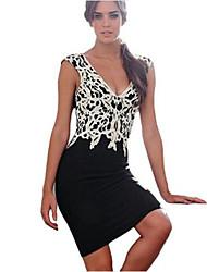 Women's Sexy V Neck Lace Short Dress Patchwork Sheath / Lace Dress Above Knee Cotton / Acrylic / Spandex
