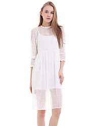 Women's Casual/Daily Chiffon Dress,Solid Crew Neck Midi Long Sleeve White / Black Silk / Polyester Summer