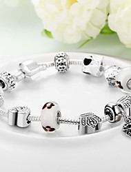 Women Gift Strand Beads Bracelets Beads Glass Beads heart Charm Bracelets & Bangles 925 Silver European beads PH034