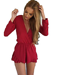 Women's Solid Red / Gray Jumpsuits , Sexy / Beach V Neck Long Sleeve