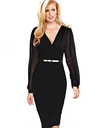 Women's Sexy Solid Sheath Dress , Deep V Knee-length Polyester