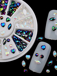 New Nail Rhinestone Pearls Wheel Round Heart Designs Acrylic Flat Back Charm Nail Art Decorations