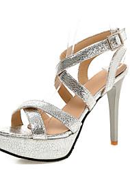 Черный / Серебристый / Золотистый-Женская обувь-Свадьба / Для праздника / Для вечеринки / ужина-Материал на заказ клиента-На шпильке-На
