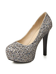 Women's Shoes Glitter Stiletto Heel Heels Heels Wedding / Party & Evening / Dress Black / Silver