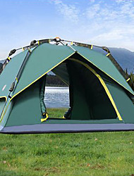 SHAMOCAMEL 3-4 persons Tent Double Automatic Tent One Room Camping Tent Waterproof Breathability Anti-Insect-Camping-Army Green