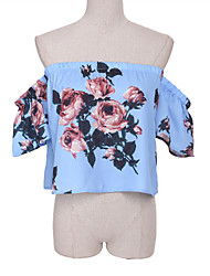 Women's Floral Blue Wrap , Off Shoulder Short Sleeve