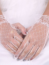 White Lace Elastic Silk Fingertips Bridal Gloves for Wedding Party