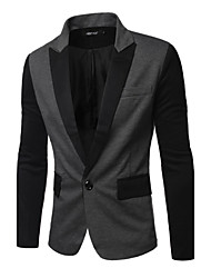 Men's Individual Splicing Single Row Of A Button Pocket Casual Suit,Cotton / Polyester Patchwork