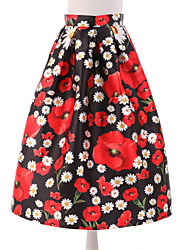 Women's Floral Black Skirts,Simple Knee-length