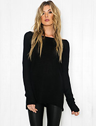 Women Loose T-Shirt O Neck Off Shoulder Long Sleeve Casual Solid Fashion Tee Top Pullover