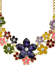 Colorful Enamel and Rhinestone Flower Choker Necklace Female Jewelry