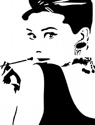 Classic Audrey Hepburn Pipe Sticker Black High Quality Large Vinyl Wall Stickers Decal Home Decor Wallpaper Mural