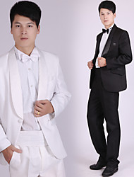 Suits Tailored Fit Shawl Collar Single Breasted One-button Polyester Solid 4 Pieces Black / White