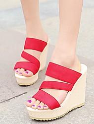 Women's Summer Wedges / Platform Fabric Dress / Casual Wedge Heel Black / Pink / Red