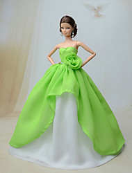 Party/Evening Dresses For Barbie Doll Light Green Dresses For Girl's Doll Toy