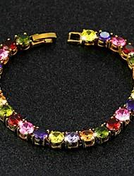 Bracelet - en Laiton / Zircon Cubique - Vintage - Lien / Chaîne