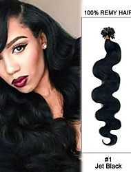 20inch Jet Black Body Wave Nail Tip U Tip 100% Remy Hair Keratin Hair Extensions-100 strands, 0.5g/ 0.8g/ 1g/strand