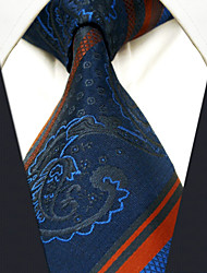Men's Tie Striped  Paisley Navy Blue  Fashion 100% Silk  Business