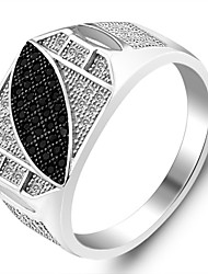 925 Sterling Silver Rings Korean Men's Fashion Jewelry Inlaid Zircon