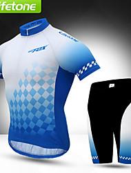 BATFOX® Camisa com Shorts para Ciclismo Homens Manga Curta MotoRespirável / Secagem Rápida / A Prova de Vento / Resistente Raios