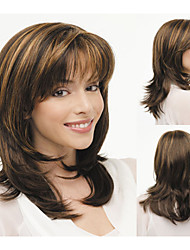 Fashionable Synthetic African American wigs Medium Length Wavy hair wig for women Sexy Natural wigs with Bangs sw0045