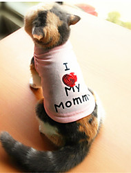 Cat / Dog Shirt / T-Shirt White / Pink Dog Clothes Summer Letter & Number Fashion