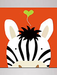 Mini Size Cartoon Zebra Painting Canvas Print One Panel Framed art