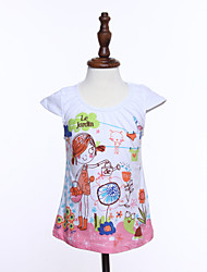 Girl's Print Tee,Cotton Summer Multi-color
