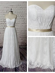 Sheath / Column Wedding Dress Floor-length Sweetheart Lace with Lace