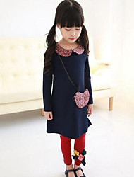 Girl's Blue / Orange Dress,Solid Cotton Spring / Fall