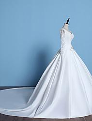 Trapèze Robe de Mariage  Traîne Chapelle Col en V Dentelle / Satin avec Perlage