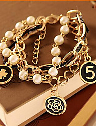 Armbänder Ketten- & Glieder-Armbänder Aleación / Künstliche Perle Alltag / Normal Schmuck Geschenk Goldfarben,1 Set