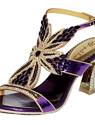Women's Shoes Leather Chunky Heel Heels Sandals Party & Evening / Dress / Casual Purple / Gold / Champagne