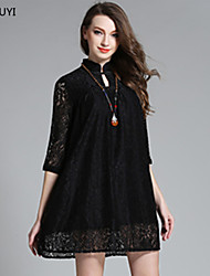 Women Plus Size Vintage Elegant Fashion Embroidery Lace Hollow See Through Lace Dress