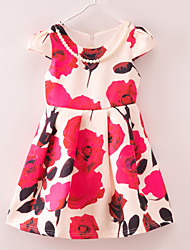 Girl's Floral Dress,Polyester Summer Red