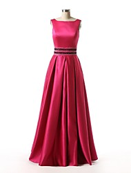 Formal Evening Dress A-line Bateau Floor-length Satin with Beading