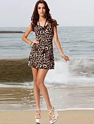 De las mujeres Línea A Vestido Simple Leopardo Mini Escote Redondo Poliéster