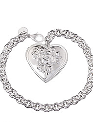 Lureme® Romantic Silver Plated Jewelry Heart Pendants Charm Bracelets for Women
