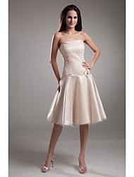 Lanting Bride Knee-length Stretch Satin Bridesmaid Dress A-line Strapless with Appliques
